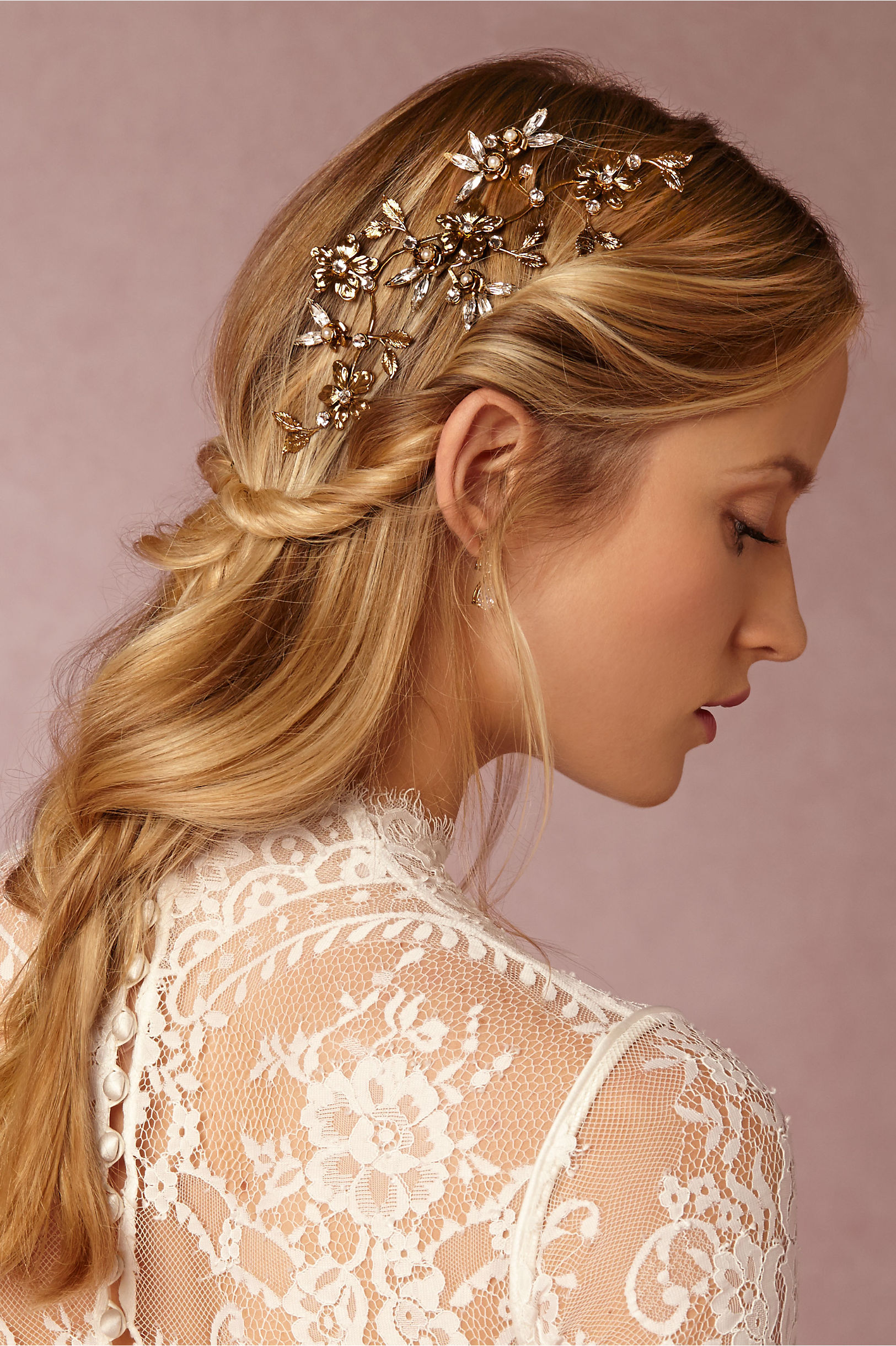 Br Bridal Headpieces Twigs And Honey - Twigs honey gold evening primrose ornament bhldn