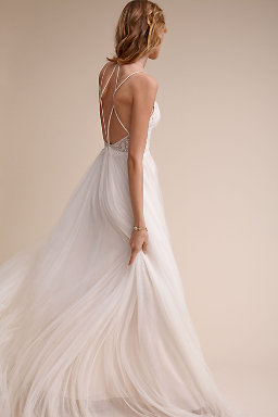 Backless wedding dresses low back wedding gowns bhldn for Wedding dress undergarments low back