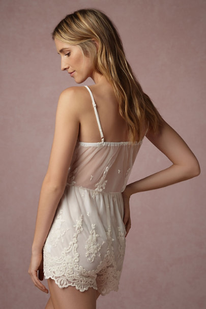 Band of Gypsies Ivory Translucid Lace Romper | BHLDN