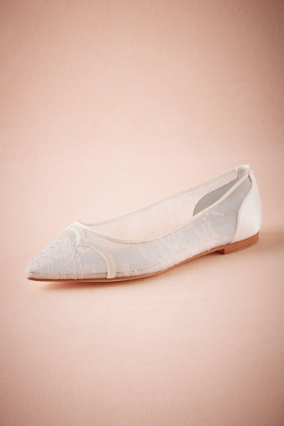 Bella Belle Ivory Piped Lace Flats | BHLDN