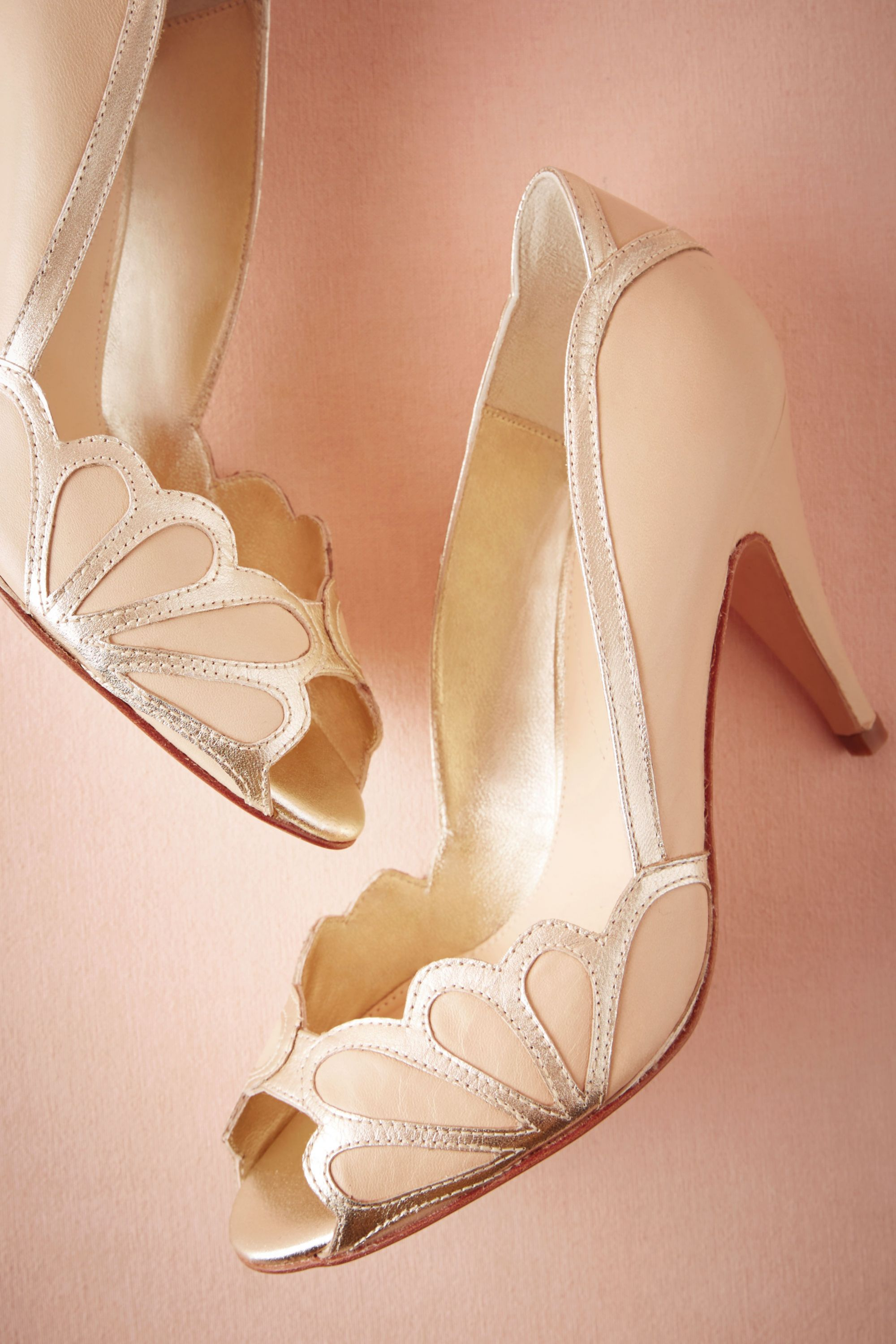 best splurge designer bridal shoes isabella scalloped heel from bhldn see more from www