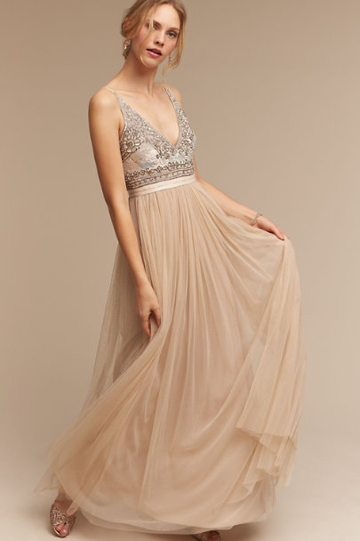 Needle & Thread Nude Brisa Dress | BHLDN