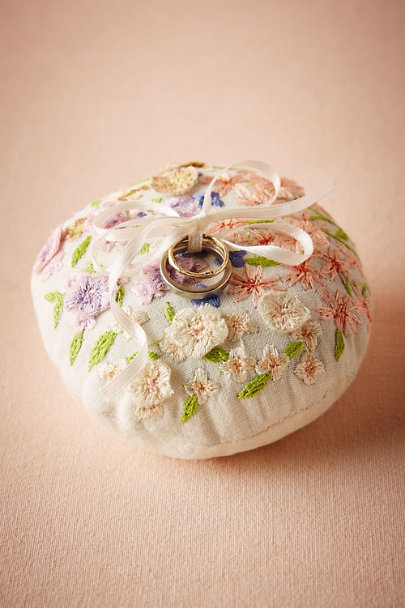 Multi Floral Embroidered Ring Pillow | BHLDN