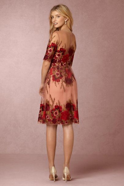 Marchesa Notte Red Floral Ivy Dress | BHLDN