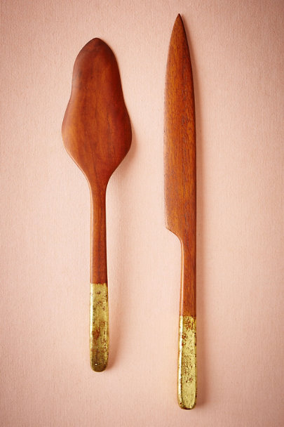 Natural Gilded Wood Serving Set | BHLDN