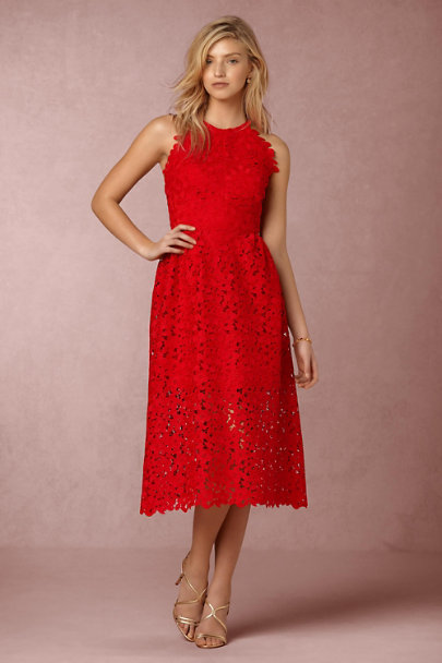 Cynthia Rowley Red Merci Midi Dress | BHLDN
