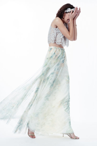 Jenny Yoo Ivory Sage Multi Louise Tulle Skirt | BHLDN