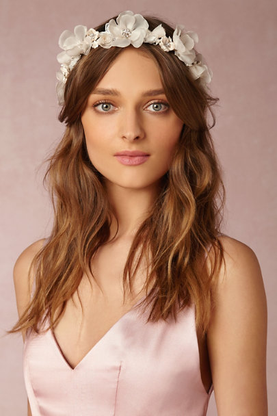 Ivory/Champagne Iceberg Rose Crown | BHLDN