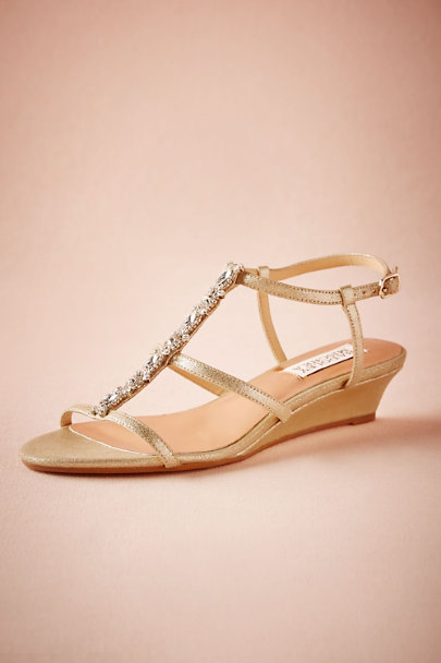 Badgley Mischka Gold Maisie Wedges | BHLDN