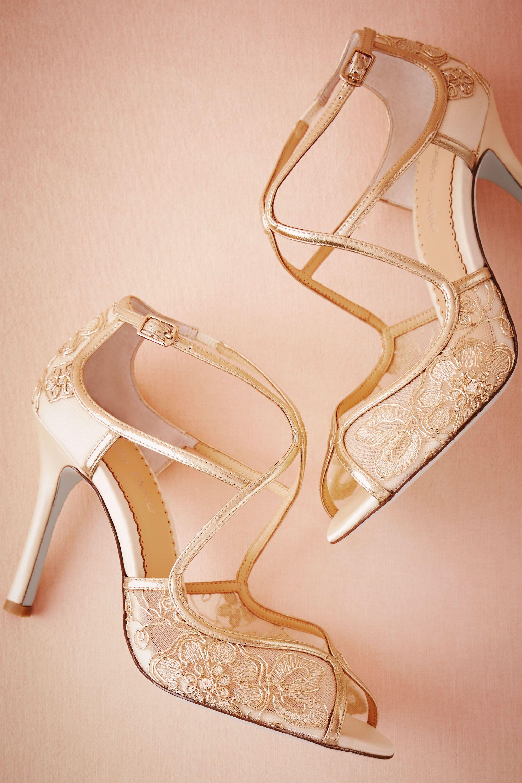 Gilt Lace Heels