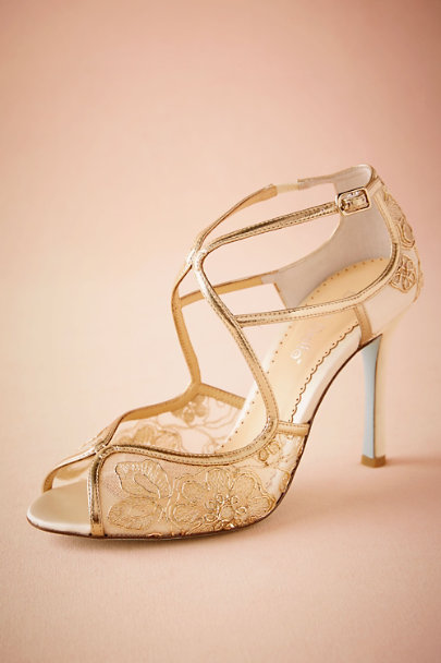 Bella Belle Gold Gilt Lace Heels | BHLDN