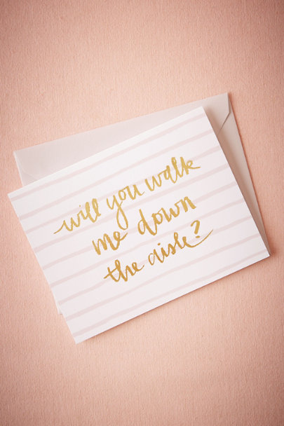 Sugar Paper Gold Walk Me Down The Aisle Card | BHLDN