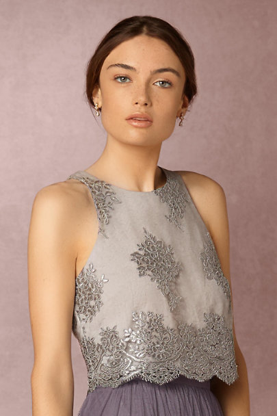 Donna Morgan Whisper Grey Bea Top  | BHLDN