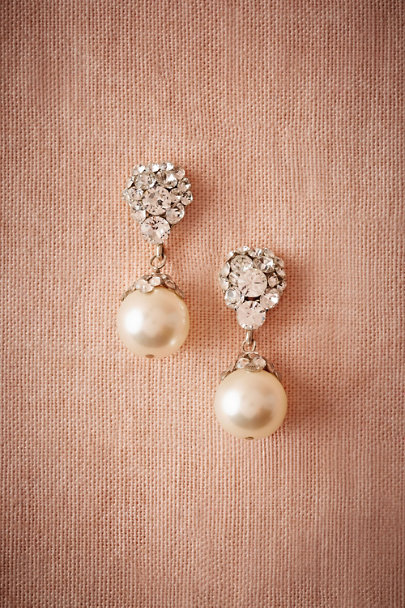 Justine M. Couture Silver Blushing Pearl Drop Earrings | BHLDN