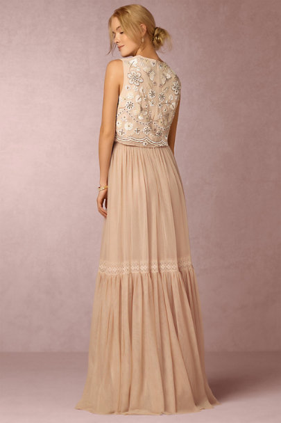 Needle & Thread Rose Beige Romella Skirt | BHLDN
