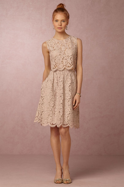 Jenny Yoo Mink Grey Lydia Lace Skirt | BHLDN