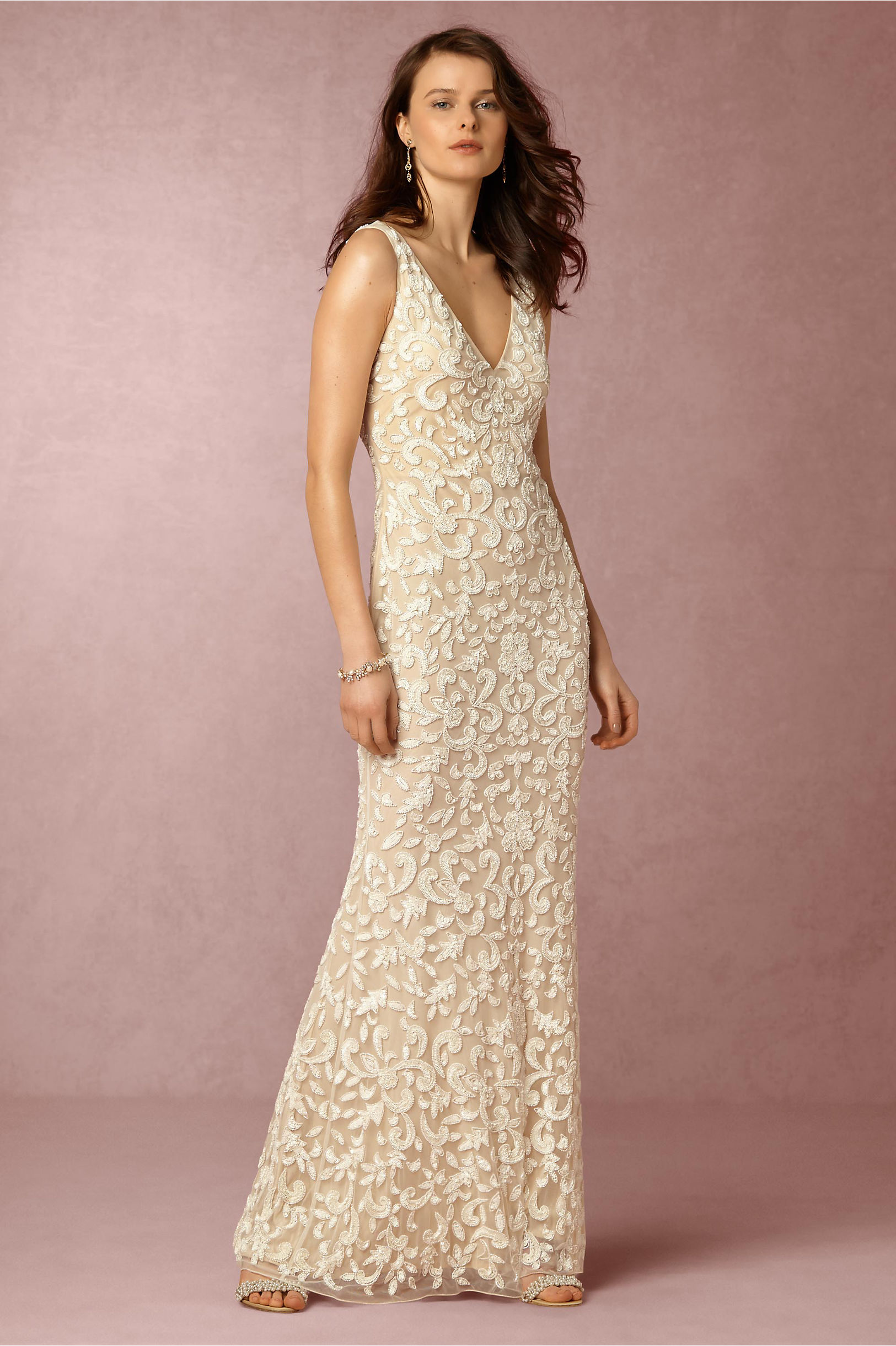 meghan gown wedding dress on sale Ivory nude Meghan Gown BHLDN