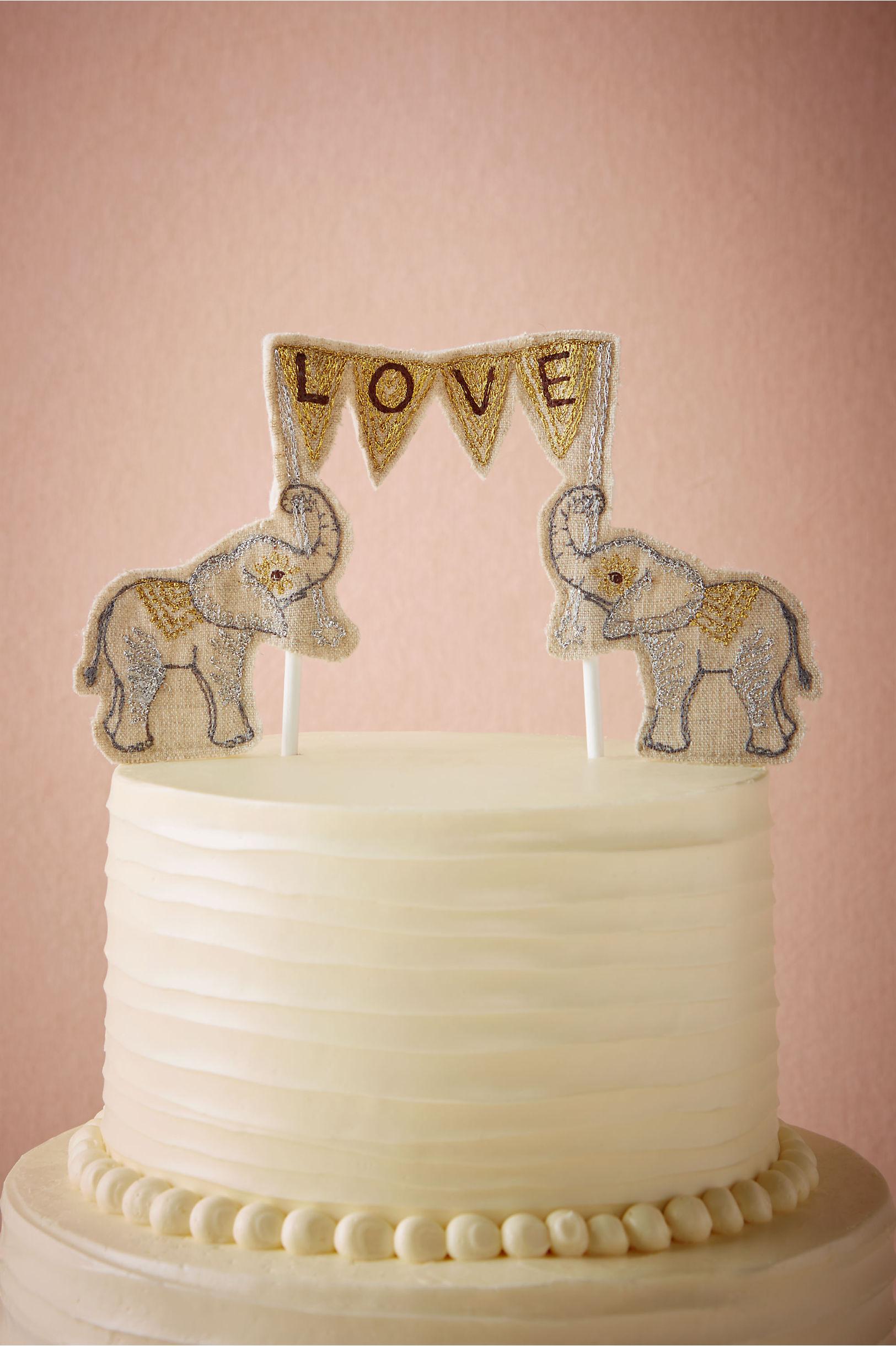 Neutral Lovesome Elephants Cake Topper Bhldn