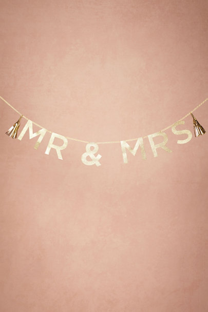 Gold Glittered Mr & Mrs Garland | BHLDN