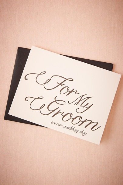 White Flourished Groom Card | BHLDN