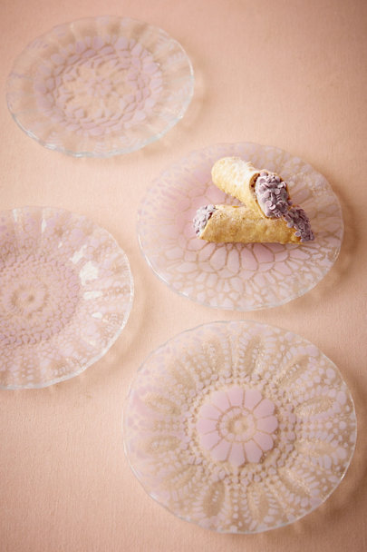 Pink Crocheted Glass Plates (4) | BHLDN