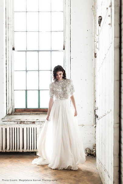 Needle & Thread Silver Philomena Cape | BHLDN