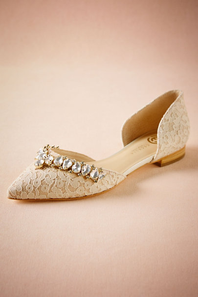 Cecilia NY Ivory and Gold Lotti Lace Flats | BHLDN