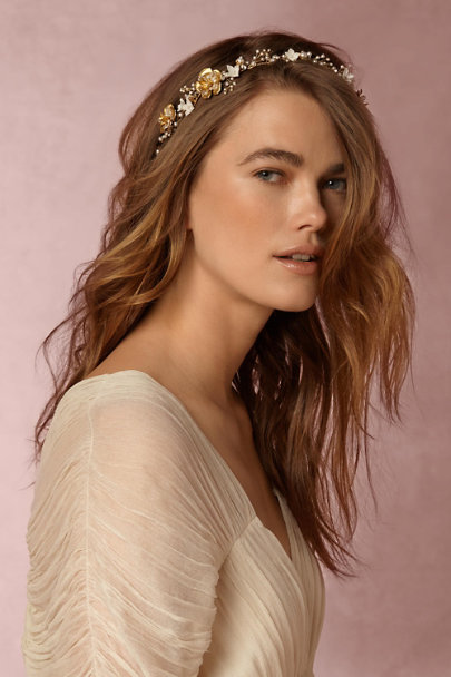 Percy Handmade Gold Ethereal Floral Halo | BHLDN