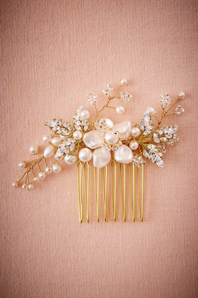 Percy Handmade Gold Rosina Floral Comb | BHLDN