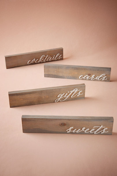 Cocktails Driftwood Table Signs | BHLDN