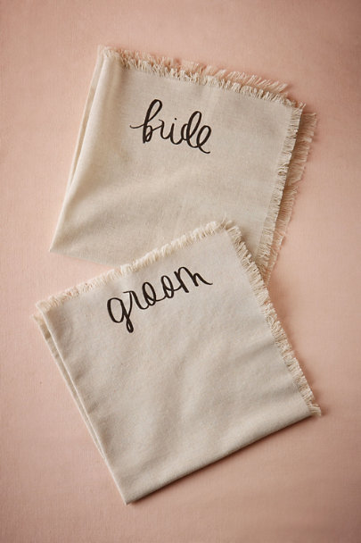 Neutral Bride & Groom Napkins (2) | BHLDN