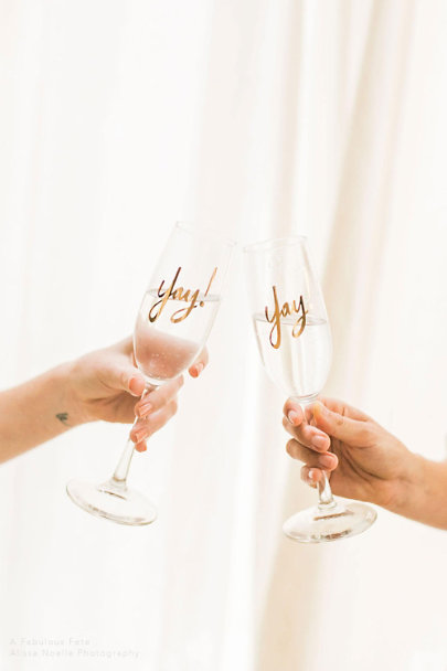 Gold Yay! Champagne Flutes (2) | BHLDN