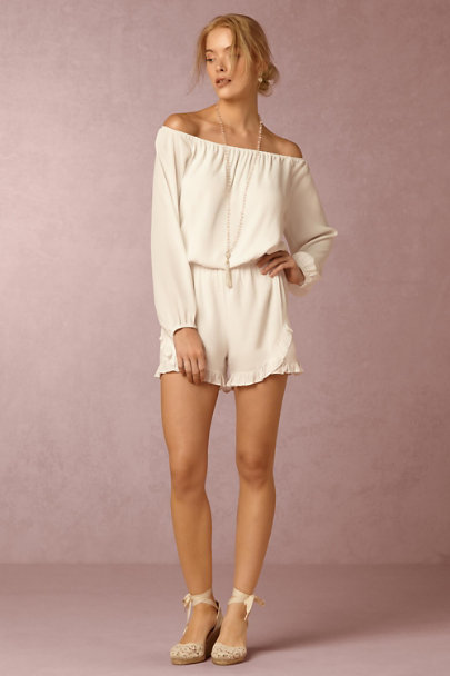 Off White Collette Romper | BHLDN