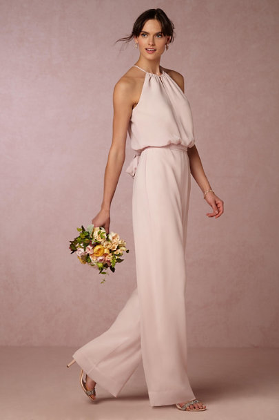 Donna Morgan Palest Pink Jackie Jumpsuit | BHLDN