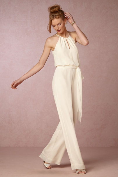 Donna Morgan Ivory Jackie Jumpsuit | BHLDN