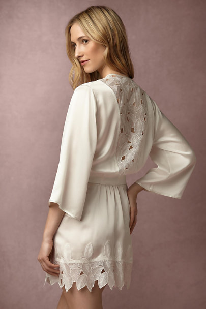 Ivory Brixton Silk Robe | BHLDN
