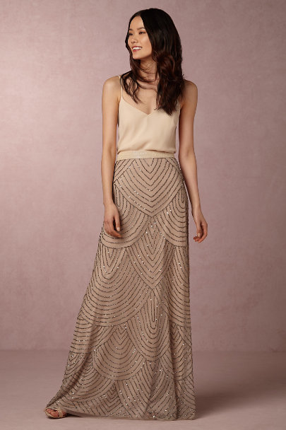 Adrianna Papell Taupe Pink Breanna Skirt | BHLDN