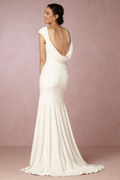 Theia Bridal Ivory Ingrid Velvet Gown | BHLDN