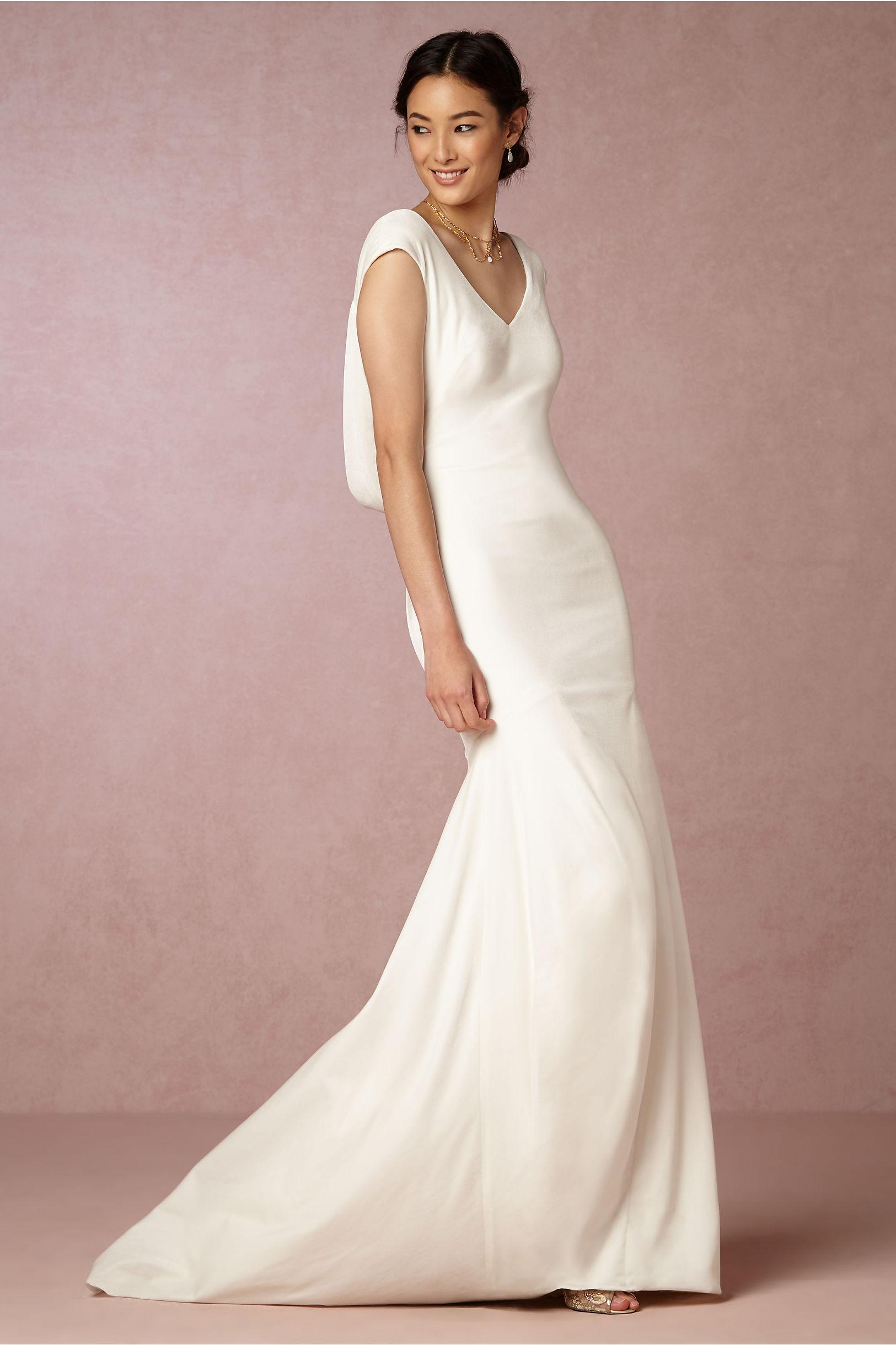 ingrid velvet gown velvet wedding dress Theia Bridal Ivory Ingrid Velvet Gown BHLDN