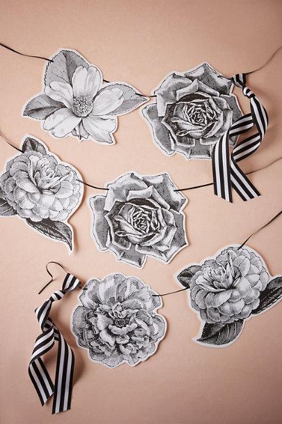 Black & White Pen & Ink Garland | BHLDN