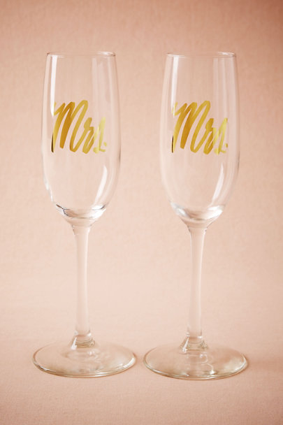 Mrs/Mrs Mr. & Mrs. Champagne Flutes (2) | BHLDN