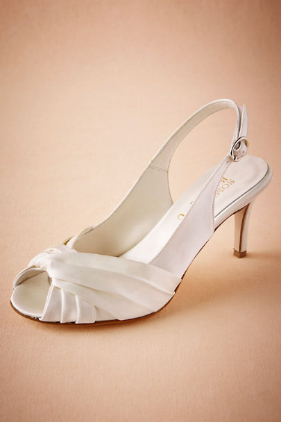 Something Bleu Ivory Maryetta Peep Toe Heels | BHLDN