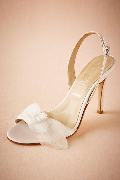 Something Bleu Ivory Plumed Slingbacks | BHLDN