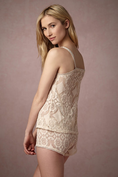 Only Hearts Creme Mosaic Lace Shorts | BHLDN
