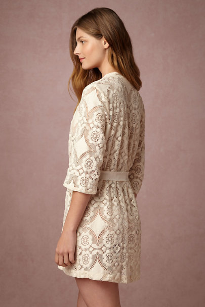 Only Hearts Creme Mosaic Lace Robe | BHLDN
