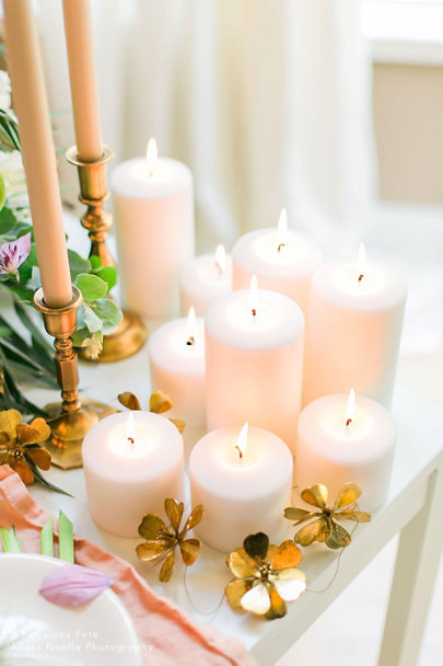 Pink Love in Bloom Pillar Candles | BHLDN