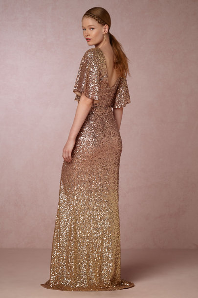 Marchesa Notte Blush/Gold Sybil Dress | BHLDN