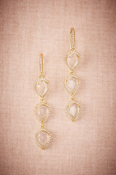 Gold Triple Teardrop Earrings | BHLDN