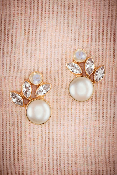 Atelier Mon Gold Luna Pearl Post Earrings | BHLDN
