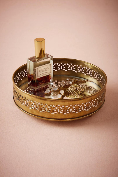 Gold Gilded Mirror Tray | BHLDN